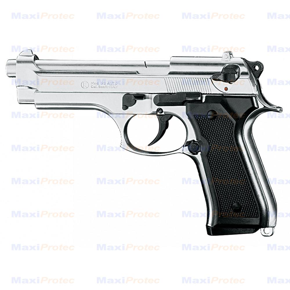 "Pistolet type ""Beretta 92 F"" Chromé cal. 9mm"
