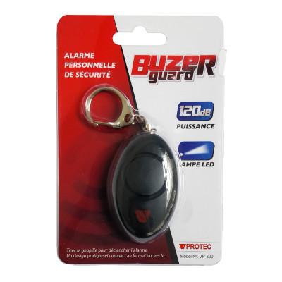Alarme de défense porte clé noire + LED VPROTEC