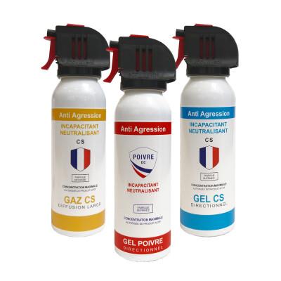 Pack 3 lacrymogènes Gaz/Gel/Poivre 100ml - tête accusol