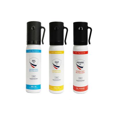 Pack 3 Bombes lacrymogènes 25ml Gaz/Gel/Poivre