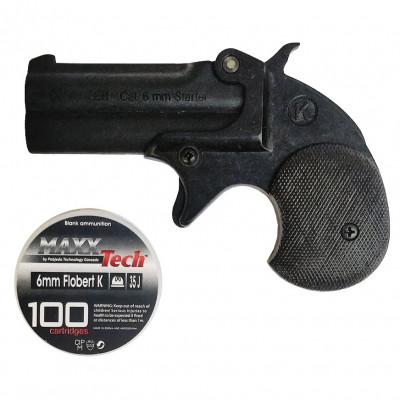 Pistolet de défense - DERRINGER noir Cal. 6mm + 100 cartouches 6mm