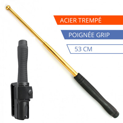 Matraque télescopique acier trempé Gold - 53 cm