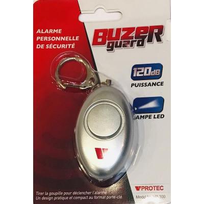 Alarme de défense porte clé chromée + LED VPROTEC