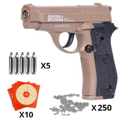 Pack SWISS ARMS P84 CO2 4.5mm Full metal 20BBs 2J - TAN