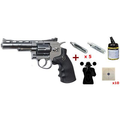 "Pack revolver Dan Wesson 4"" Chromé cal. 6 mm"