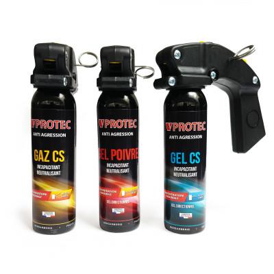 Pack 3 extincteurs lacrymogènes Gaz/Gel/Poivre 100ml VPROTEC