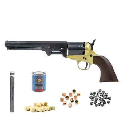 Pack 12 coups - Revolver poudre noire PIETTA 1851 navy MILLENIUM US MARTIAL LAITON  cal.44 (REB44/ML)