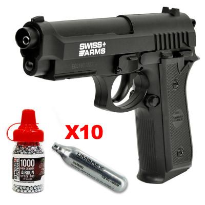 Pack Swiss Arms Beretta SA P92 full Metal 4.5mm BBS - 2,11 joules
