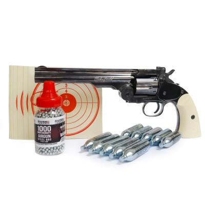 "Pack revolver 6"" ASG Schofield acier gris 4.5 mm BB"