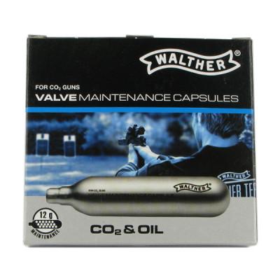 5 capsules 12G pour entretien de valve Walther CO2 + Huile